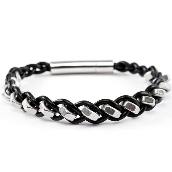 1-reihiges schwarzes Armband aus Leder mit Edelstahlmuttern