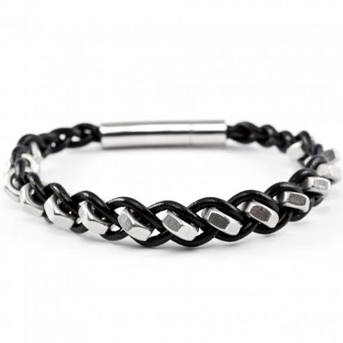 1-reihiges, schwarzes Armband aus Muttern und Leder