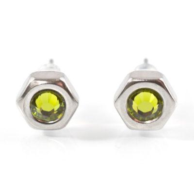 Ohrstecker mit Edelstahlmutter und oligrünen Kristallelement
